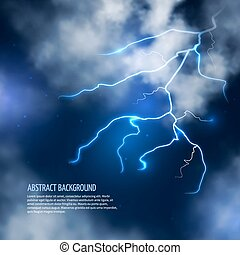 nubi, lightnings., astratto, temporale, vettore, fondo