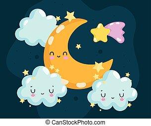 nubi, luna, cartone animato