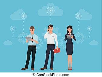 nubi, persone affari, concept., aggeggi, comunicazioni, collegamento, sociale, usando