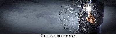 nubi, rete, globale, alto, direttore, toccante, sopra