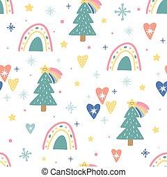 nubi, seamless, unico, sole, albero, modello, divertente, illustrazione, characters., vettore, balls., vacanza, trendy, carino, disegno, decorazione, natale, arcobaleni, elements., fiocchi neve, cuori