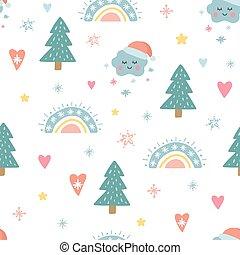 nubi, seamless, unico, sole, albero, modello, divertente, illustrazione, characters., vettore, balls., vacanza, trendy, carino, disegno, element., decorazione, cappello natale, arcobaleno, fiocchi neve, santa