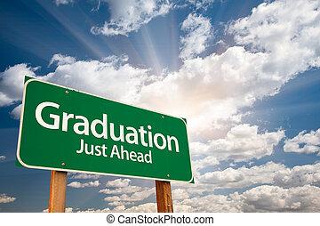 nubi, sopra, graduazione, segno, verde, strada