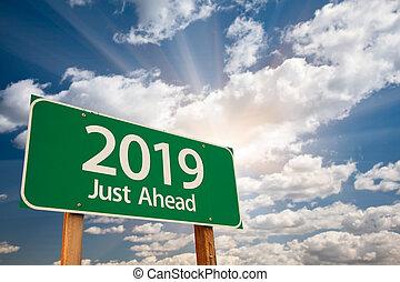 nubi, sopra, segno, verde, 2019, strada