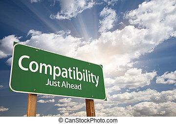 nubi, sopra, segno, verde, compatibilità, strada