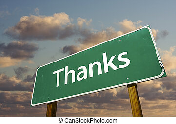 nubi, sopra, segno, verde, ringraziamento, strada