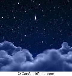 nubi, spazio, cielo, attraverso, notte, o