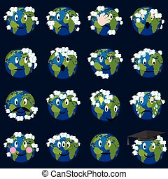 nubi, terra, emoticons, set., pianeta