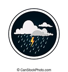 nubi, tuono, pioggia, fondo, bordo, circolare