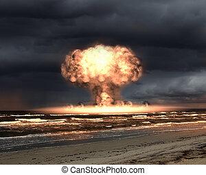 nucleare, esterno, esplosione, regolazione