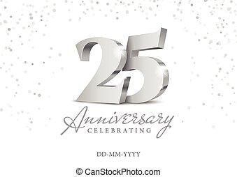 numbers., argento, 25., 3d, anniversario