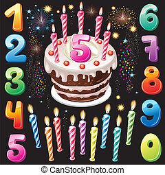 numeri, buon compleanno, torta, firework