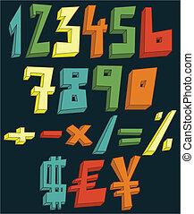 numeri, colorito, 3d