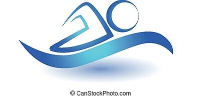 nuotare, logotipo, sport, icona