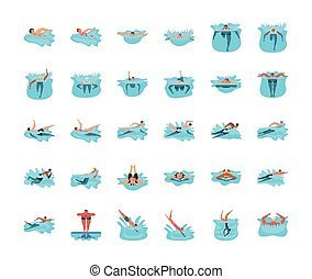 nuoto, persone, set, icone