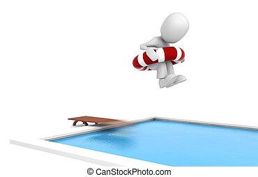 nuoto, saltare, stagno, uomo, 3d