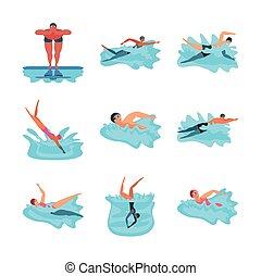 nuoto, set, persone, icone