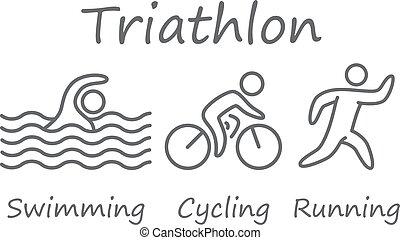 nuoto, triathlon, symbols., ciclismo, correndo, figure, athletes., profili