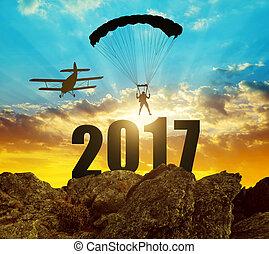 nuovo, 2017, concetto, anno