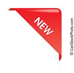 nuovo, angolo, affari, nastro, rosso