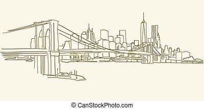 nuovo, brooklyn, panorama, disegno, york