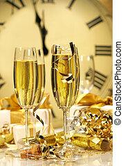 nuovo, champagne, mezzanotte, anno