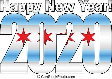 nuovo, chicago, felice, 2020, dentro, anno, bandiera