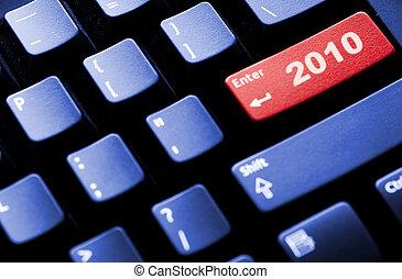 nuovo, concetto, 2010, affari, anno