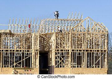 nuovo, costruzione, 2, incorniciatura