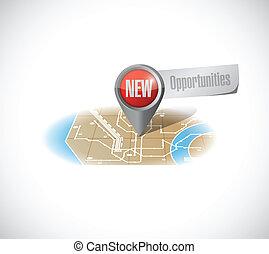 nuovo, disegno, opportunità, illustrazione, mappa