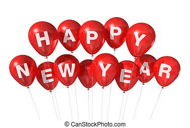 nuovo, felice, palloni, anno