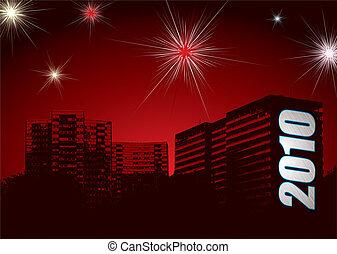 nuovo, fireworks, anno, 2010, urbano