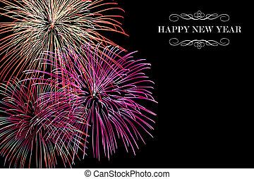 nuovo, fireworks, felice, fondo, anno
