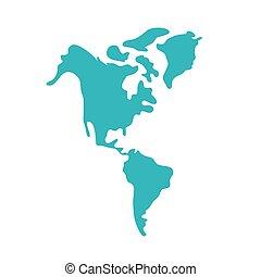 nuovo, mappe, icona, isolato, continente