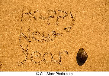 nuovo, noce di cocco, felice, sabbia, anno