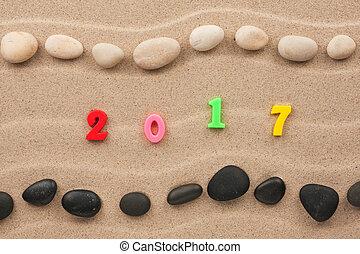 nuovo, sabbia, 2017, scritto, anno