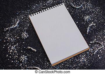 nuovo, scopo, argento, notebook., coriandoli, stelle, anno, risoluzione, fondo., brillare, nero, elenco