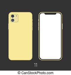 nuovo, side., indietro, smartphone, oro, 11, frameless, fronte, colorito, schermo vuoto, isolato, fondo., su, beffare