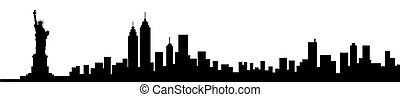 nuovo, siluetta skyline, york, città
