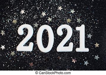 nuovo, silwer, stelle, anno, felice, fondo., 2021, brillare, nero