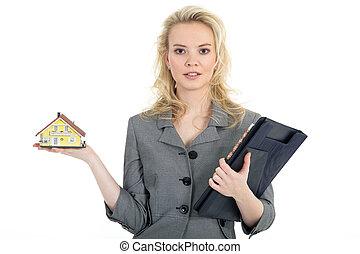 nuovo, vende, donna, casa
