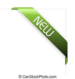 nuovo, verde, nastro, angolo