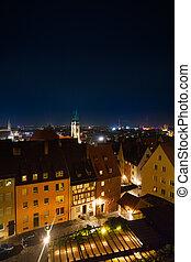 nuremberg, vista, cima, kaiserburg, notte
