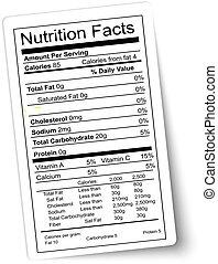nutrizione, vector., grasso, highlighted., label., fatti