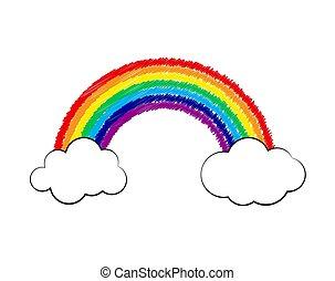 nuvola, arcobaleno, icon., illustrazione, vettore