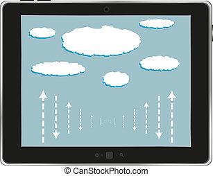 nuvola, bianco, computer, isolato, tavoletta