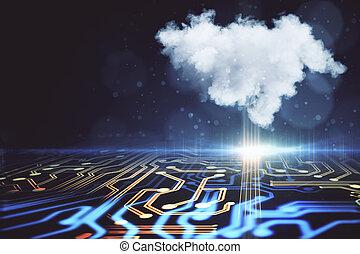 nuvola, calcolare, fondale