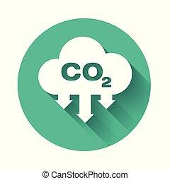 nuvola, co2, smog, concetto, concept., isolato, lungo, ambiente, diossido, formula, cerchio, shadow., illustrazione, simbolo, carbonio, bianco, icona, button., vettore, verde, emissioni, inquinamento