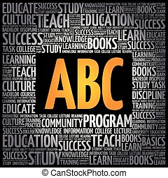 nuvola, concetto, parola, abc, educazione