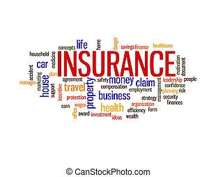 nuvola, concetto, parola, assicurazione, protezione
